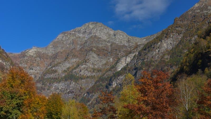 与山上面的秋天风景 免版税库存图片