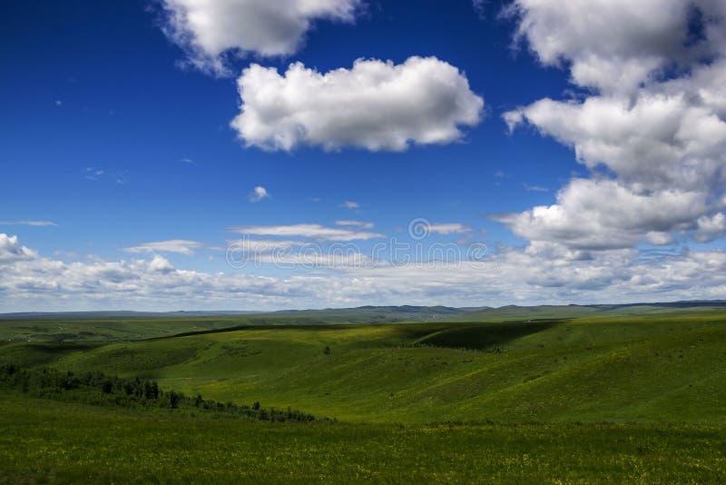 与山和多云天空的夏天风景视图 干草原风景好夏日 免版税库存图片