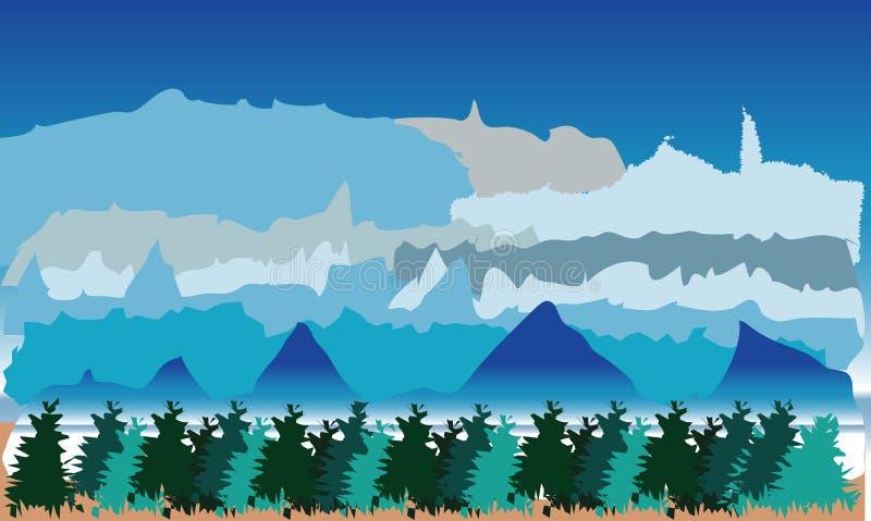 与山和树的风景 库存例证