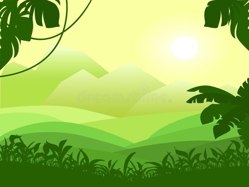 与山和绿色领域视图的风景 日出的传染媒介例证在热带植物中 向量例证