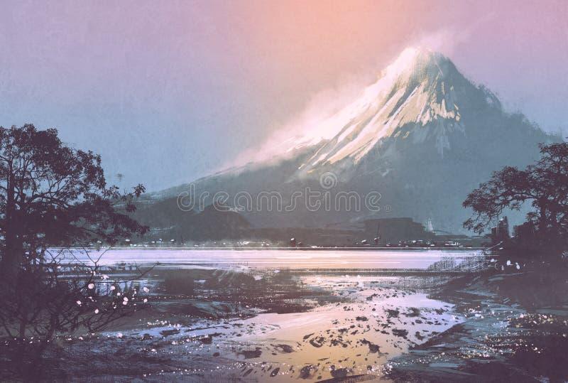 与山湖的冬天风景在晚上天空下 免版税库存图片