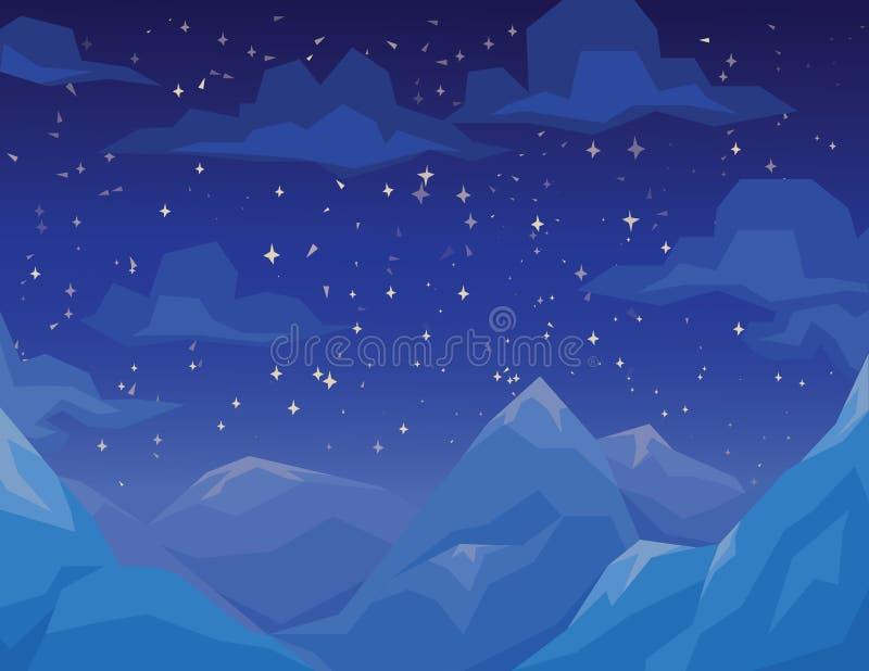 与山的冬天场面环境美化,夜满天星斗的天空和云彩 皇族释放例证
