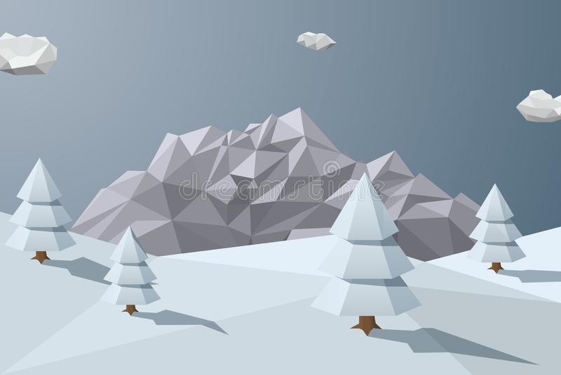 与山的冬天背景在低多角形样式 皇族释放例证