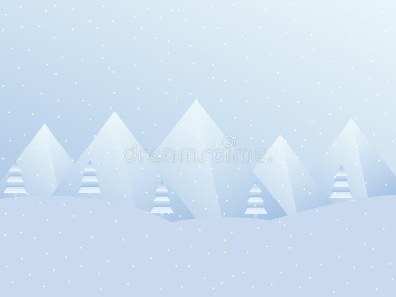 与山的冬天风景 圣诞节的,新年欢乐背景 向量 库存例证