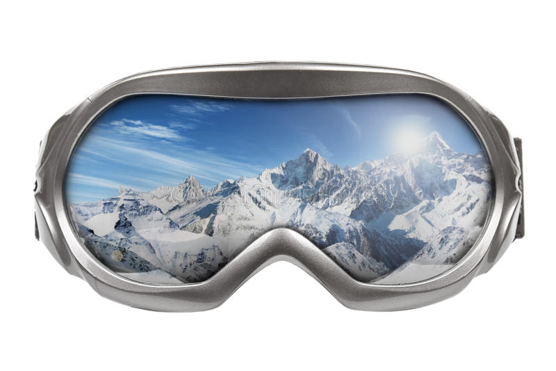 与山的反映的滑雪风镜 免版税库存照片