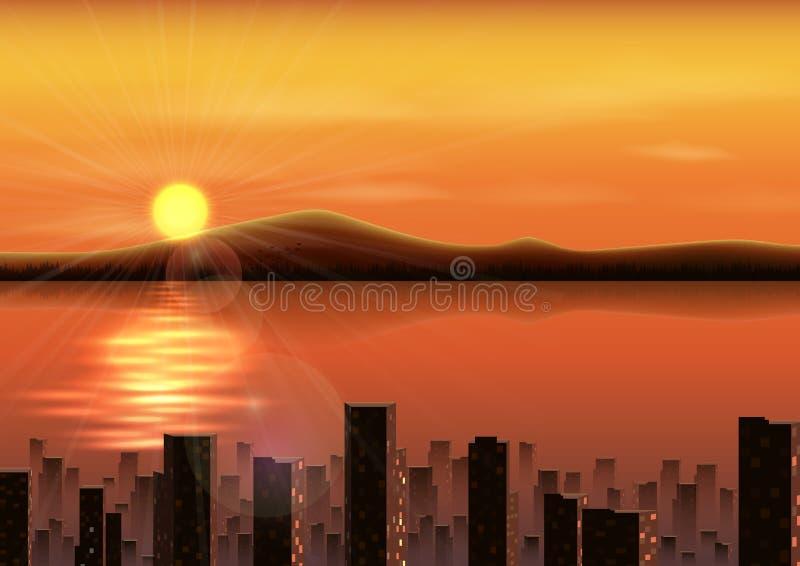 与山的日落背景和城市在河 库存例证