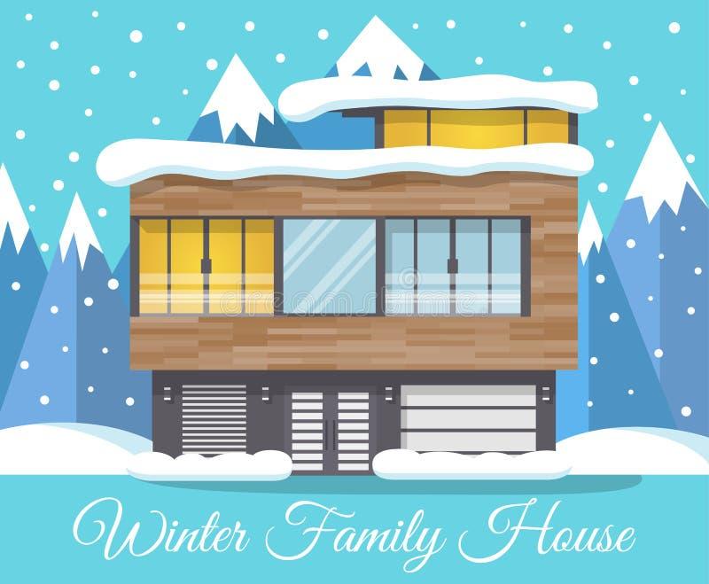 与山的现代冬天家庭议院风景在背景,贺卡中 库存例证