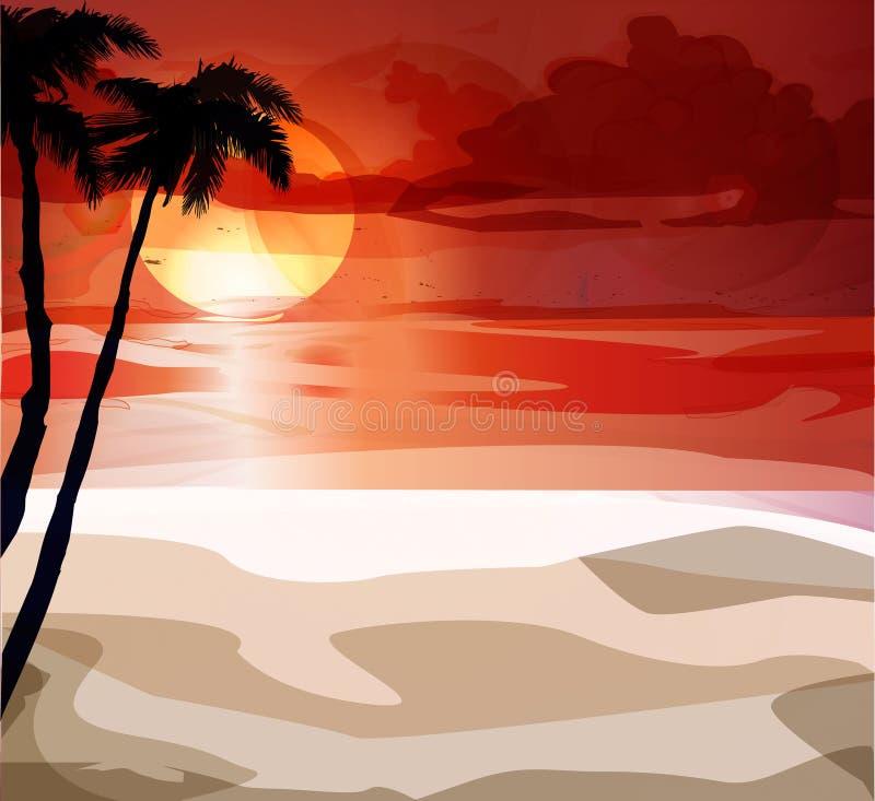 与山的美丽的镇静海滩在日落期间 向量例证
