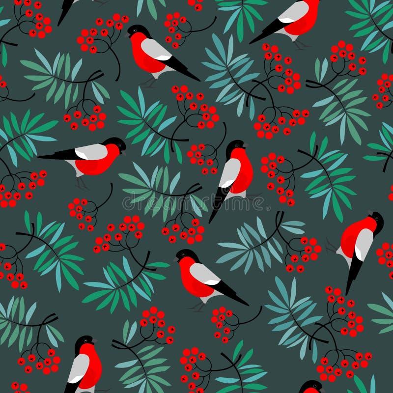 与山脉灰的红腹灰雀鸟无缝的样式离开和莓果 向量例证