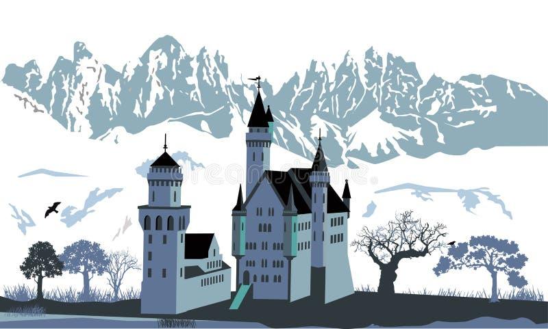 与山风景的城堡 库存例证