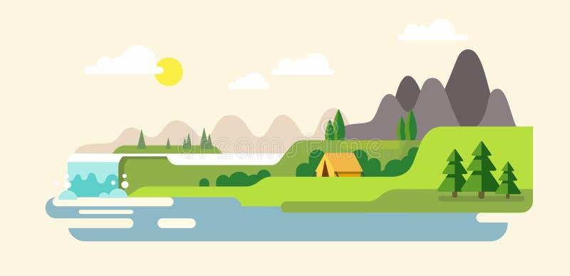 与山,小山的自然风景 河和瀑布 皇族释放例证