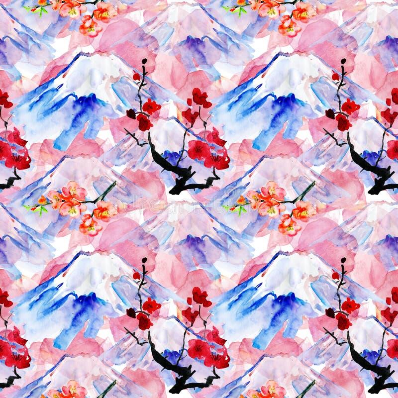与山Fujiyama和花的背景 向量例证