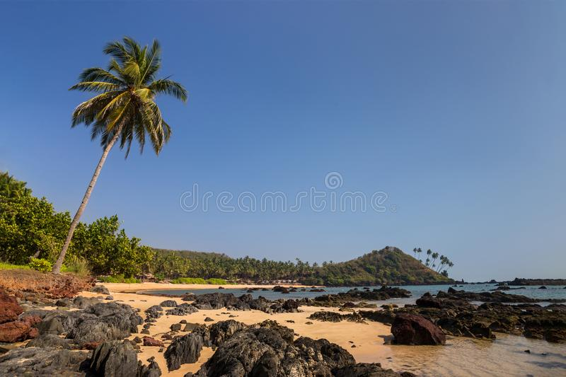 与岩石和棕榈树的热带海滩 免版税库存照片