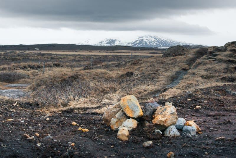 与岩石的冰岛风景在领域 免版税库存照片