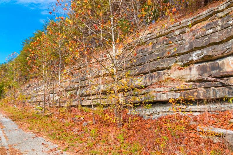 与岩石的山峭壁分层堆积, ro的五颜六色的石形成 库存图片