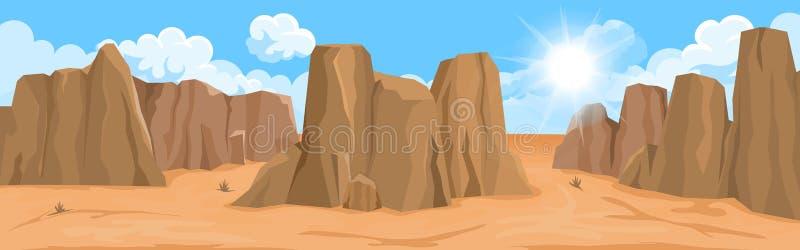 与岩石的沙漠风景 库存例证