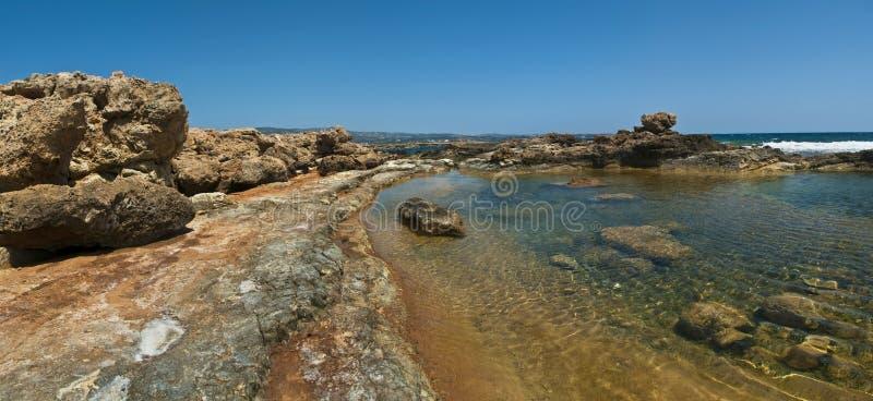 与岩石的浅水区在塞浦路斯 库存照片