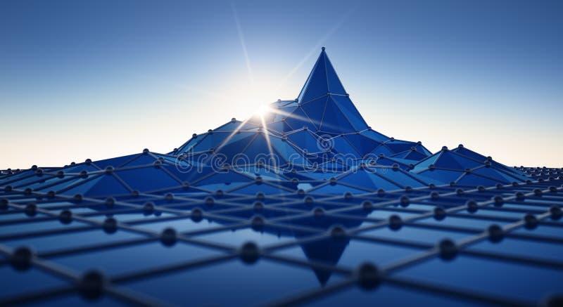与峰顶的蓝色网络活动 库存例证