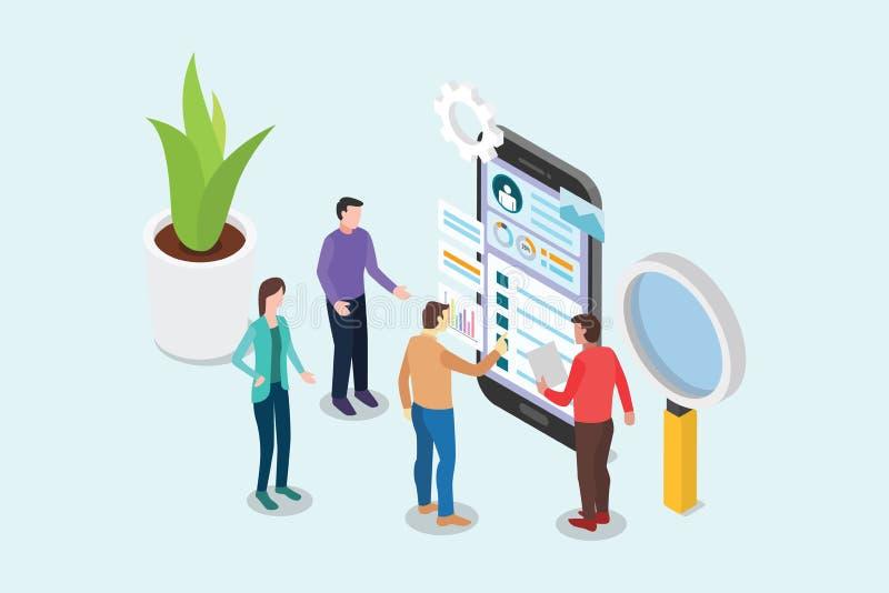 与工作在智能手机和设计页-传染媒介的队人的等量ui和ux设计师概念 向量例证