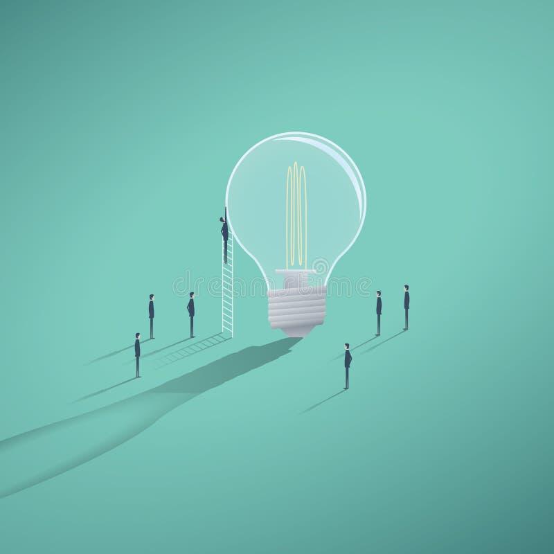 与工作在电灯泡的商人的创造性的配合企业传染媒介概念 库存例证