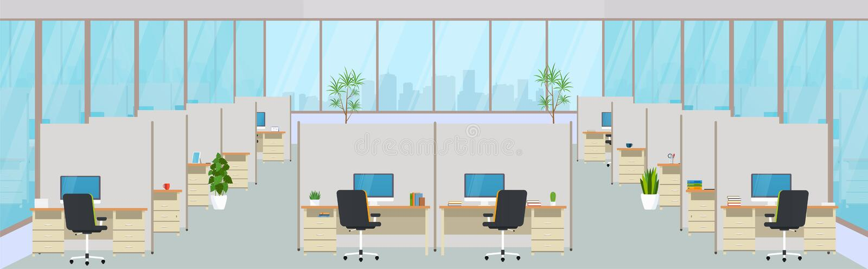 与工作场所的现代办公室中心 共同工作的,设计有大窗口的企业室空的工作区 库存例证