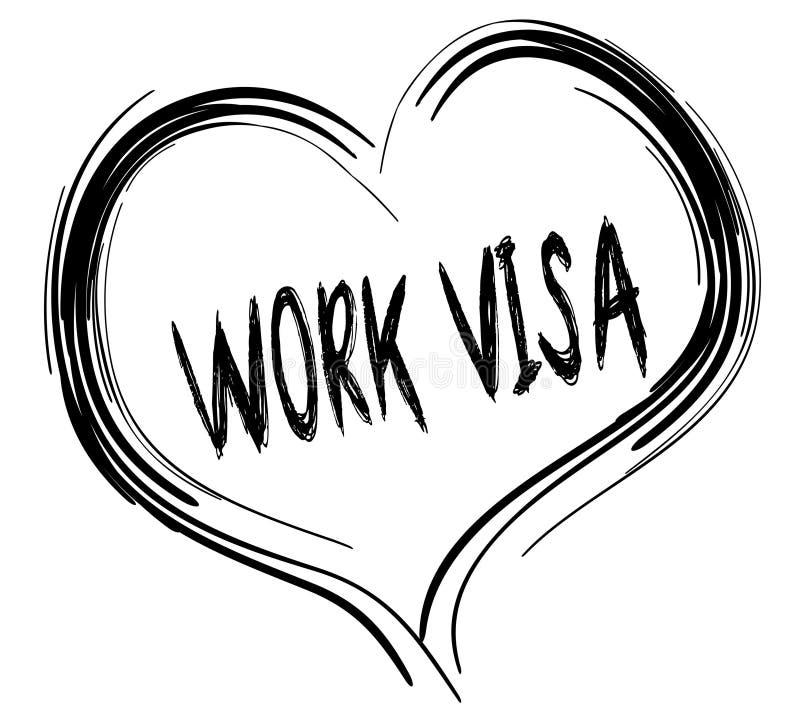 与工作签证文本的速写的黑心脏 向量例证