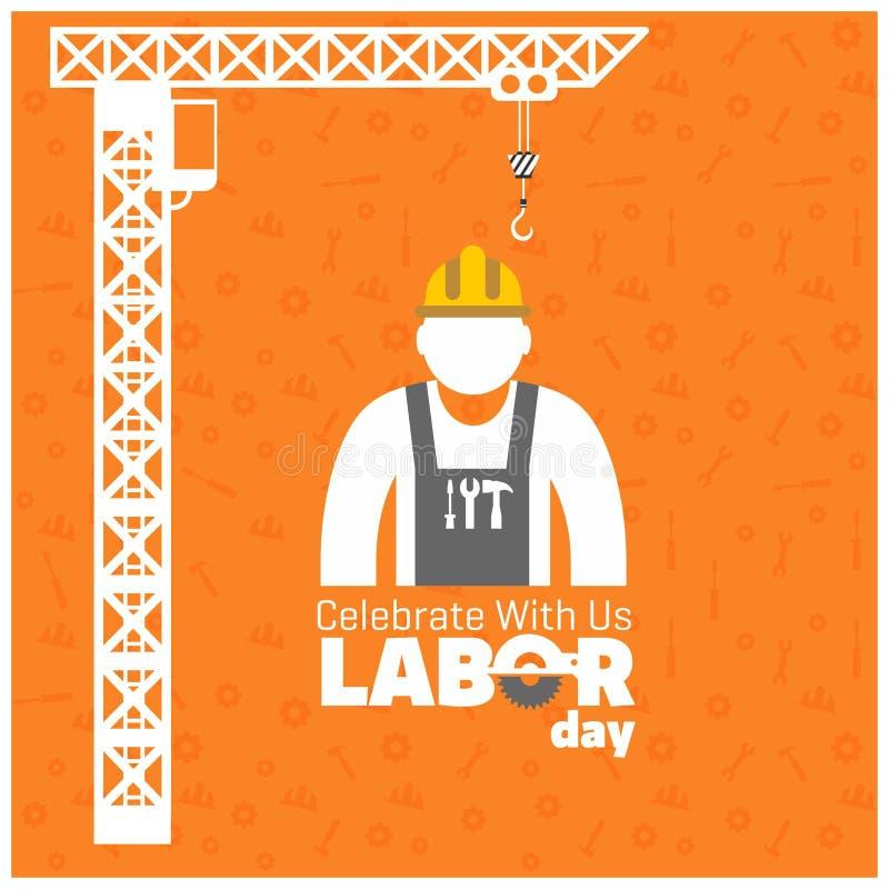 与工作者和建筑用起重机的愉快的劳动节在橙色帕特 皇族释放例证