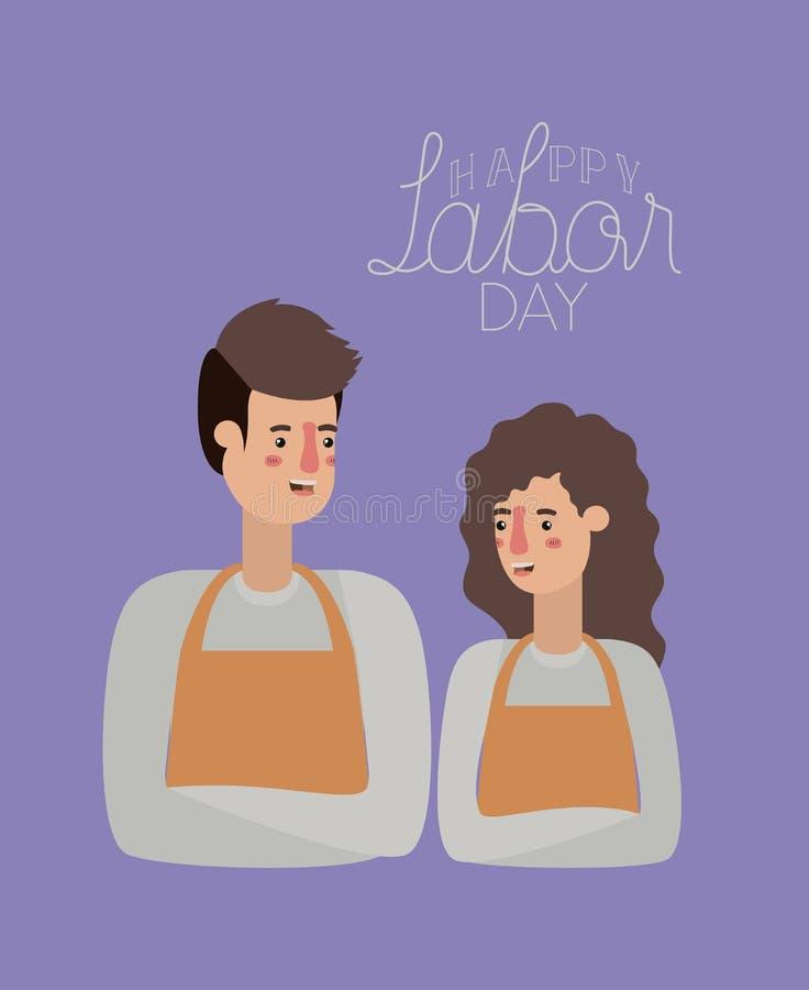 与工作者夫妇的愉快的劳动节卡片 库存例证
