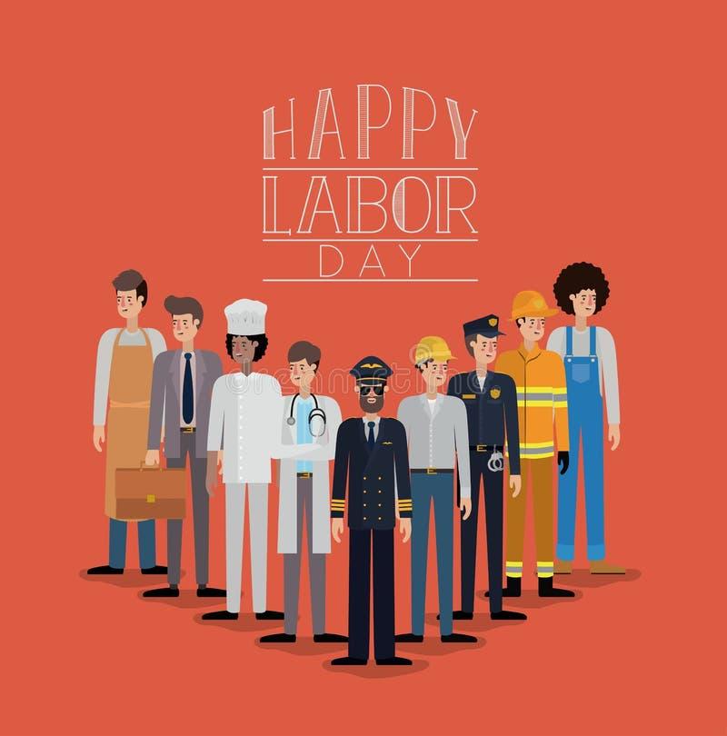 与工作者的愉快的劳动节卡片 皇族释放例证