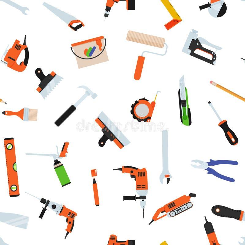 与工具的无缝的样式为修理 路辗,刷子,油漆,铅笔,工具,锤子,卷尺,油灰刀,铅笔 向量例证