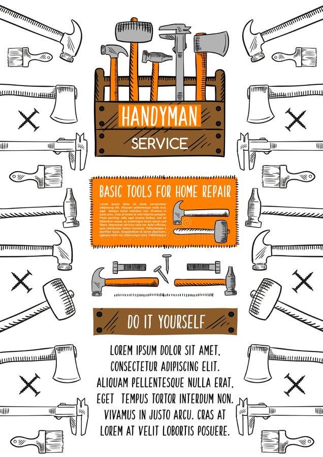 与工具箱的家庭修理工具横幅 向量例证
