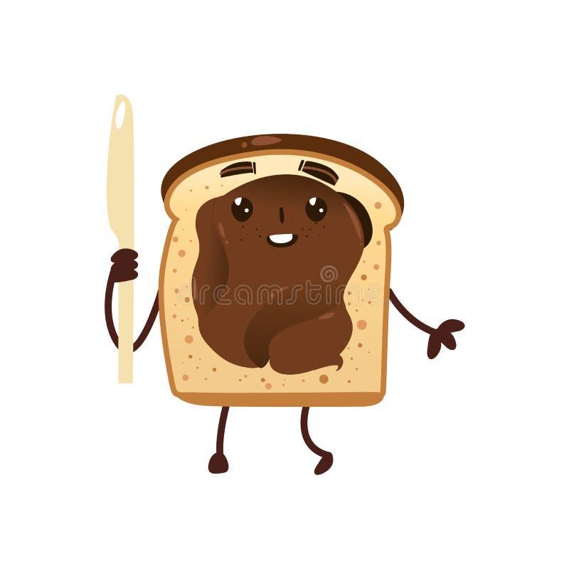 与巧克力传播的滑稽的微笑的面包多士 库存例证