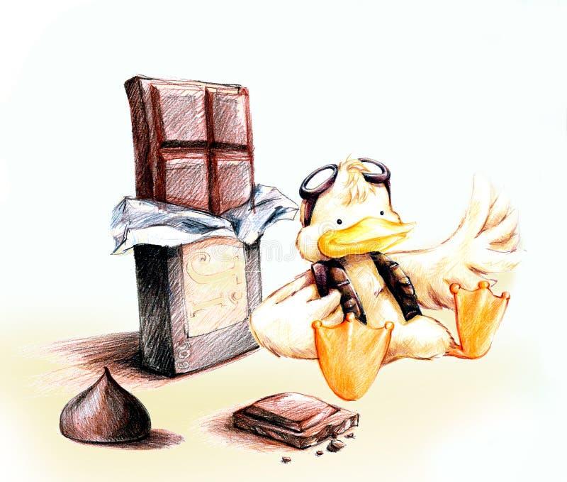 与巧克力动画片的黄色试验鸭子 库存例证