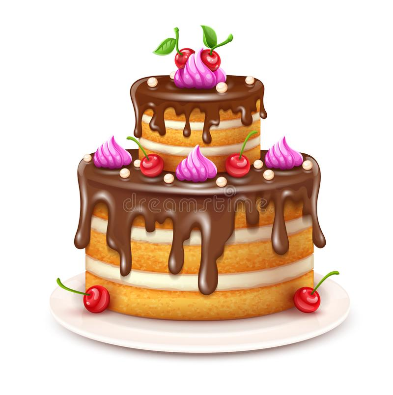 与巧克力奶油和樱桃传染媒介的生日蛋糕 ?? 向量例证