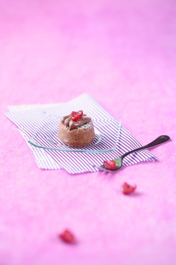 与巧克力奶油和莓的微型蛋糕 库存照片