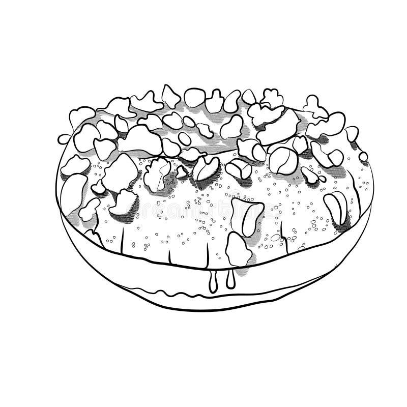 与巧克力片的多福饼 也corel凹道例证向量 向量例证