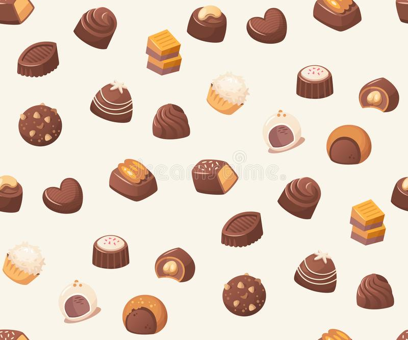 与巧克力甜点的无缝的传染媒介样式在白色背景 皇族释放例证