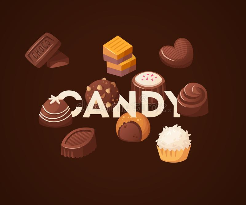与巧克力甜点的海报在词糖果附近会集了 库存例证