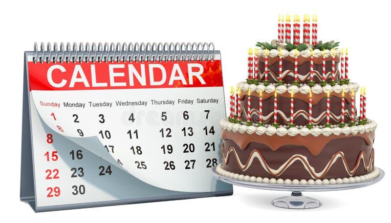 与巧克力生日蛋糕,3D的桌面日历翻译 库存例证