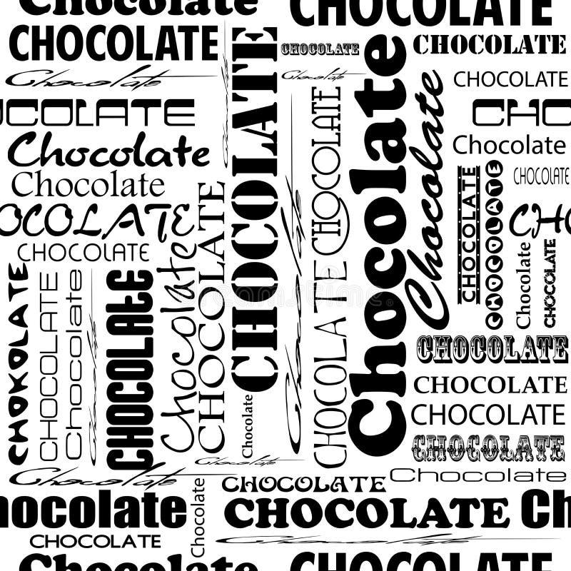与巧克力的词的无缝的巧克力样式以不同 库存例证