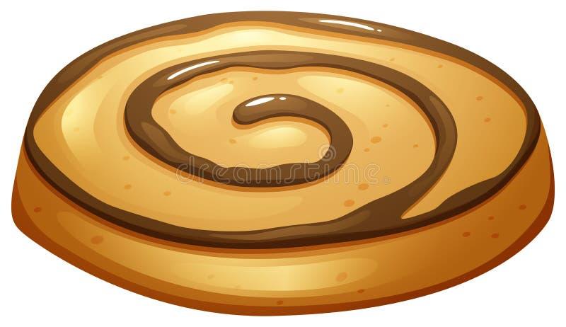 与巧克力顶部的圆的曲奇饼 向量例证