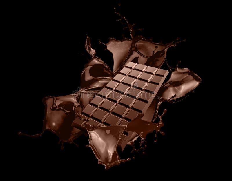 与巧克力飞溅的巧克力块在黑背景 图库摄影
