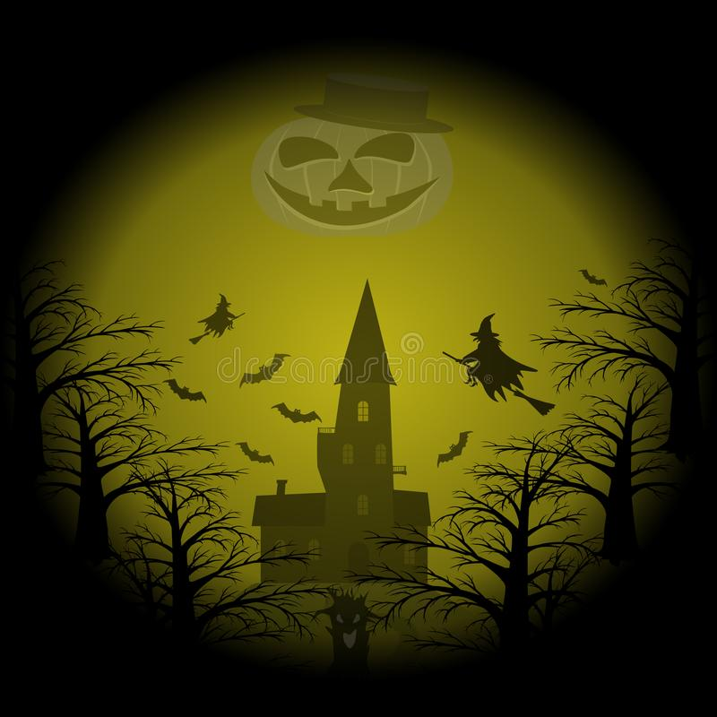 与巨大的咧嘴笑的月亮pumpk的滑稽的地狱万圣夜党样式 库存例证