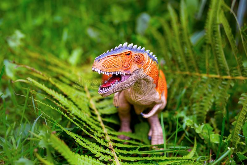 与巨大的牙的掠食性恐龙在蕨中 一个小雕象 库存照片