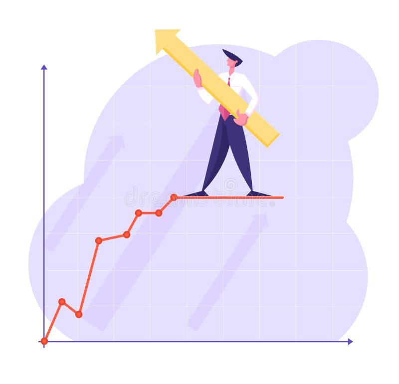 与巨大的箭头的商人字符在手上站立在坐标系的增长的企业图曲线线顶部 库存例证