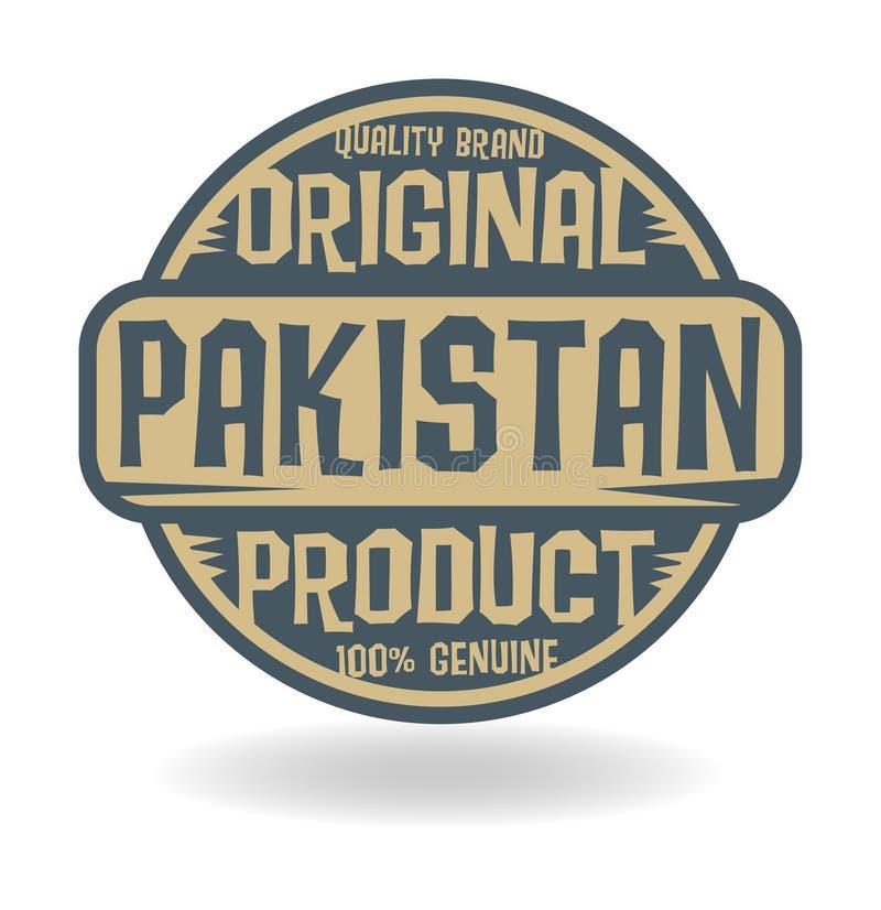 与巴基斯坦的文本原始的产品的抽象邮票 向量例证