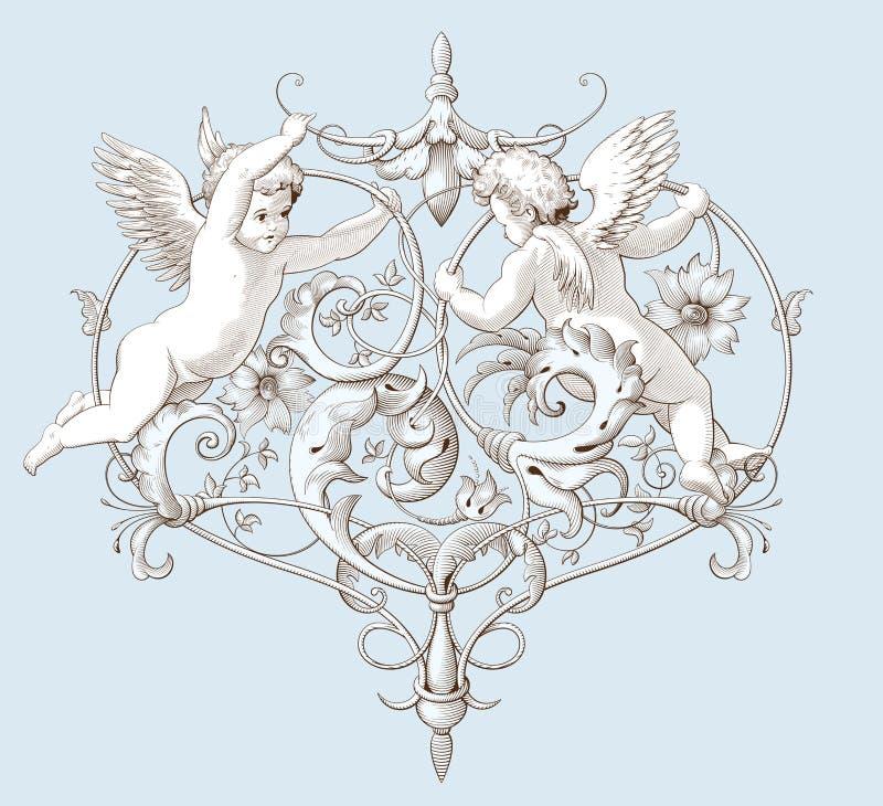 与巴洛克式的装饰品样式和丘比特的葡萄酒装饰元素板刻 皇族释放例证
