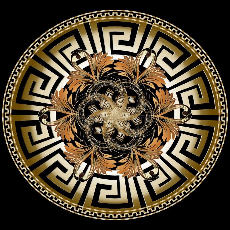 与巴洛克式的ornam的华丽金黄3d希腊传染媒介坛场样式 库存例证