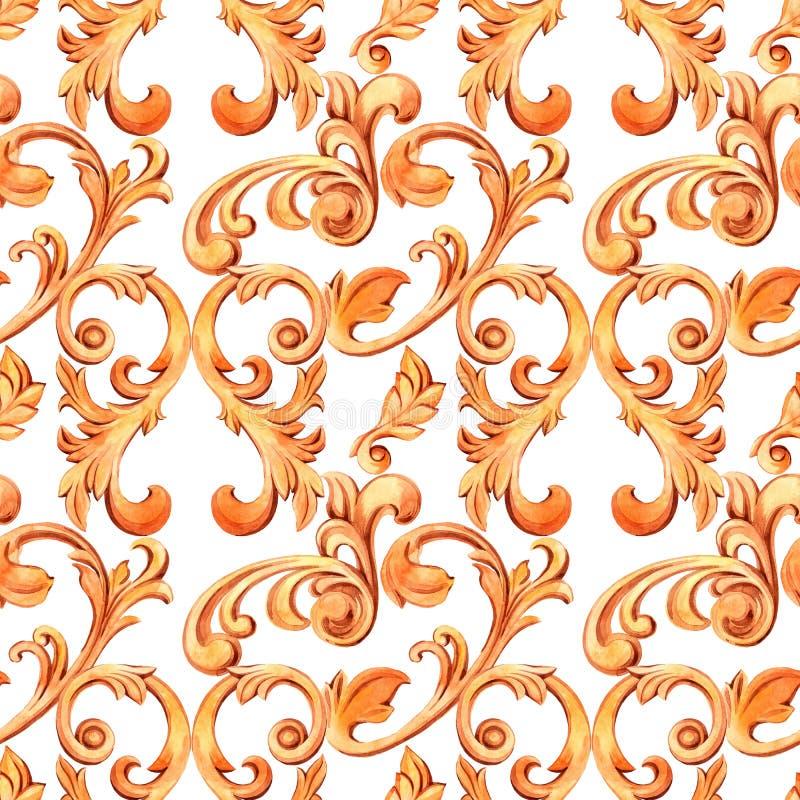 与巴落克式样的金黄元素的无缝的纹理 设计和纺织品的新生装饰 水彩手拉的豪华 库存例证