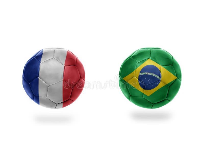 与巴西和法国的国旗的橄榄球球 向量例证